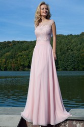 Sheath Lace Floor-Length Scoop-Neck Cap-Sleeve Prom Dress