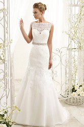 A-Line Bateau-Neck Sleeveless Appliqued Floor-Length Lace Wedding Dress With Waist Jewellery