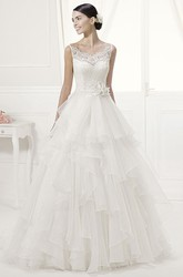 Spaghetti Straps Lace Top Layered Organza Gown With Waist Flower