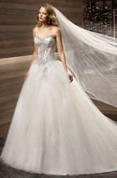 Sweetheart Brush-train A-line Wedding Dress with Beaded Corset and Tulle Skirt