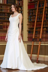 A-Line Long Beaded V-Neck Sleeveless Satin Wedding Dress With Low-V Back And Side Draping