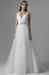 Long V-Neck Appliqued Jeweled Tulle&Lace Wedding Dress With Court Train And V Back