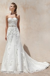 Sheath Sweetheart Appliqued Floor-Length Sleeveless Tulle&Lace Wedding Dress With Waist Jewellery And Bow