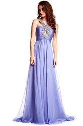 Maxi Strapped Sleeveless Beaded Chiffon Prom Dress