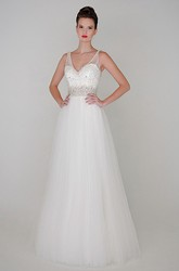 A-Line Beaded V-Neck Floor-Length Sleeveless Tulle Wedding Dress With Waist Jewellery