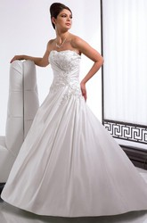 A-Line Appliqued Long Sleeveless Strapless Satin Wedding Dress With Draping And Corset Back
