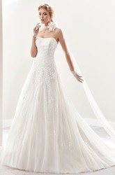 Strapless Brush-Train A-Line Lace Bridal Gown With Pleated Details