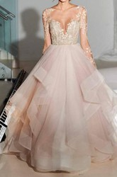 Ball Gown Bateau Organza Lace Open Back Wedding Gown