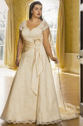 Cap Sleeve Lace Bridal Gown With Satin Sash And Lace Up