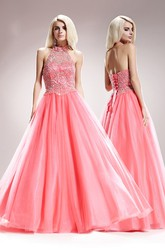 A-Line High Neck Sleeveless Tulle Satin Backless Dress With Beading And Pleats