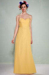 Floor-Length Criss-Cross Sweetheart Sleeveless Chiffon Bridesmaid Dress