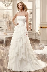 Strapless Long Wedding Dress With Cascading Ruching And Side Floral Waist