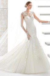Jewel-Neck Court-Train Mermaid Wedding Dress with Illusive Neckline and Back