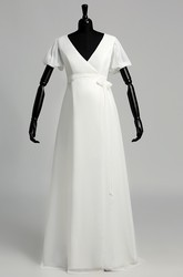 A Line Court Floor-length Ruffles Sash Ribbon Chiffon Maternity Wedding Dress