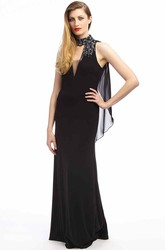 Sheath High-Neck Beaded Sleeveless Floor-Length Chiffon Prom Dress With Draping