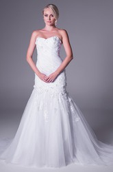 Mermaid Appliqued Sweetheart Tulle Wedding Dress With Ruching And Zipper