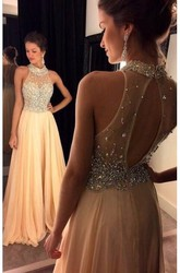 A-Line Princess Sleeveless Chiffon Crystal High Neck Sweep Brush Train Dresses