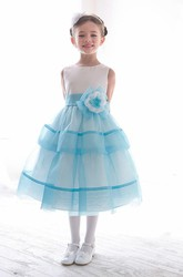 Tea-Length Floral Tiered Beaded Sequins&Organza Flower Girl Dress With Split Front