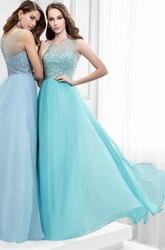 Scoop-Neck Beaded Sleeveless Floor-Length Chiffon Prom Dress