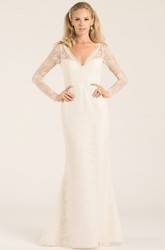 Sheath Long-Sleeve V-Neck Lace Wedding Dress With Keyhole