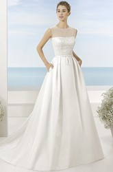 Scoop Floor-Length Beaded Satin Wedding Dress With Brush Train And Illusion