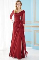 3-4 Sleeved V-Neck A-Line Mother Of The Bride Dress With Front Slit And Crystals