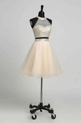 Tulle A-Line Halter Romantic Sleeveless Short Mini Keyhole Dress with Beading Sequins