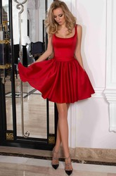 A-Line Short Mini Sleeveless Satin Bow  Low-V Back Dress