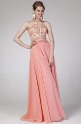 A-Line High Neck Sleeveless Chiffon Straps Dress With Beading And Pleats