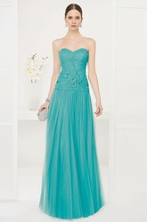Sweetheart Drop Waist A-Line Tulle Long Prom Dress With Sequined Embroidery
