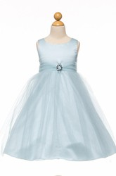 Tea-Length Beaded Tulle&Satin Flower Girl Dress With Broach