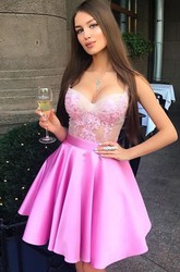A-line Ball Gown Short Mini Sleeveless Straps Ruffles Satin Lace Homecoming Dress