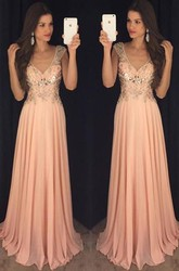 Newest Chiffon A-line V-neck Prom Dress 2018 Crystals Cap Sleeve
