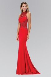 Sheath High Neck Sleeveless Jersey Dress With Beading And Appliques