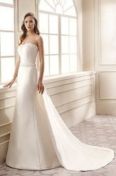 Sheath Strapless Beaded Maxi Sleeveless Satin Wedding Dress With Waist Jewellery