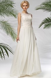 A-Line Sleeveless Scoop-Neck Appliqued Floor-Length Chiffon Wedding Dress With Pleats