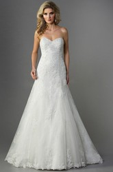 Sweetheart Mermaid Gown With Appliques And Open Back