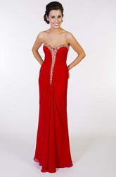 Sheath Floor-Length Beaded Sleeveless Sweetheart Chiffon Prom Dress With Low-V Back And Draping