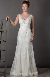 Crystal V Neck Sheath Tulle Bridal Gown With Lace And Open Back