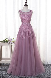 Bateau Sleeveless Ethereal Floor-length Tulle Dress With Floral Appliques And Beading
