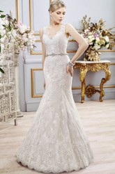 Mermaid Sleeveless V-Neck Floor-Length Appliqued Lace Wedding Dress With Deep-V Back And Waist Jewellery