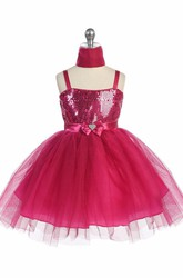 Knee-Length Cape Beaded Tiered Tulle&Sequins Flower Girl Dress With Sash