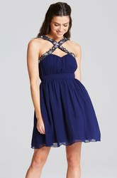 Mini Ruched Strapped Sleeveless Chiffon Bridesmaid Dress With Beading
