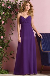 Sleeveless Floor-Length Bridesmaid Dress With Keyhole Back And Pleats
