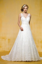 Sleeveless V-Neck A-Line Wedding Dress With Low V-Back And Appliques