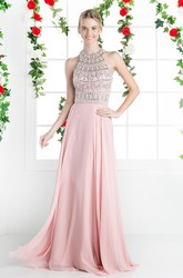 A-Line High Neck Sleeveless Chiffon Keyhole Dress With Beading And Pleats
