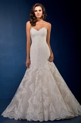 Sweetheart Long Gown With Dropped Waistline And Appliques