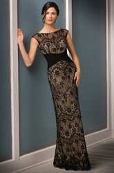 Cap-Sleeved Long Lace Sheath Mother Of The Bride Dress With Crisscross Ruches