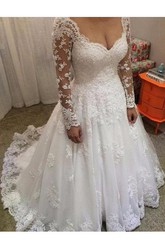 Ball Gown V-neck Lace Illusion Wedding Dress