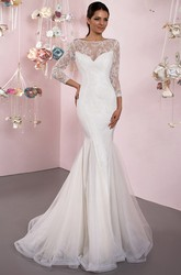 Mermaid 3-4 Sleeve Lace Bateau Neck Tulle Wedding Dress With Brush Train